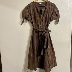 Midi Button Down Brown Striped Dress